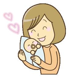 新所沢整骨院の赤ちゃんを抱っこしている女性のイラスト